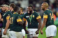 Tendai Mtawarira of South Africa has a laugh with team-mate Trevor Nyakane after the match. Rugby World Cup Bronze Final between South Africa and Argentina on October 30, 2015 at The Stadium, Queen Elizabeth Olympic Park in London, England. Photo by: Patrick Khachfe / Onside Images