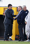 Ally McCoist commiserates with Forres Mechanics manager Charlie Rowley after the final whistle.