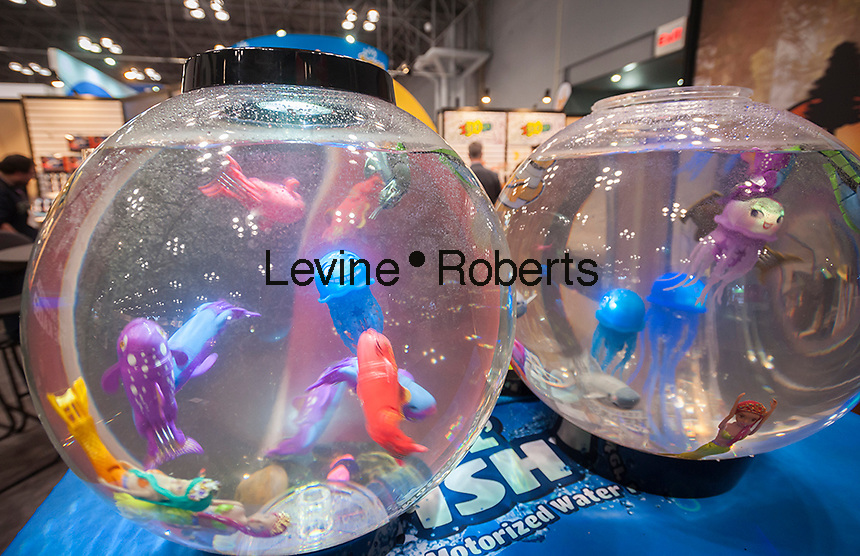 Lil' Fishys Motorized Water Pets at the 113th North American International Toy Fair in the Jacob Javits Convention center in New York on Sunday, February 14, 2016.  The four day trade show with over 1000 exhibitors connects buyers and sellers and draws tens of thousands of attendees.  The toy industry generates over $84 billion worldwide and Toy Fair is the largest toy trade show in the Western Hemisphere. (© Richard B. Levine)