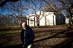 "The New Clairvaux Abbot Paul Mark Schwan walks from their ""chapter house"" built from 800-year-old stones in Vina, Calif. on December 18, 2012"