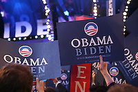 """Obama - Biden"" signs on the floor of the Democratic National Convention, Pepsi Center, Denver, Colorado, August 27, 2008."
