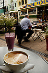 Coffee and smoothie at an outdoor cafe, Christchurch, New Zealand