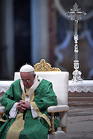 Pope Francis during  mass for the opening of the synod on the family on October 4, 2015