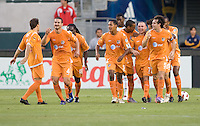 Puerto Rico Islanders begin to celebrate after a David Foley (7) goal. The Puerto Rico Islanders defeated the LA Galaxy 4-1 during CONCACAF Champions League group play at Home Depot Center stadium in Carson, California on Tuesday July 27, 2010.Puerto Islanders Alexis Rivera (5)