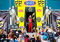 Mar 19, 2017; Gainesville , FL, USA; NHRA top fuel driver Leah Pritchett during the Gatornationals at Gainesville Raceway. Mandatory Credit: Mark J. Rebilas-USA TODAY Sports
