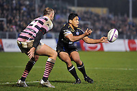 Ben Tapuai of Bath Rugby passes the ball. European Rugby Challenge Cup match, between Bath Rugby and Cardiff Blues on December 15, 2016 at the Recreation Ground in Bath, England. Photo by: Patrick Khachfe / Onside Images