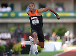 Christian Taylor takes to the air in the men's triple jump at the U.S. Outdoor Track and Field Championships in Eugene, Oregon June 23, 2011.  REUTERS/Steve Dykes (UNITED STATES)