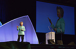 Hillary Rodham Clinton speaks to participants at the United Methodist Women's Assembly during an April 26, 2014 worship service at the Kentucky International Convention Center in Louisville, Kentucky. Clinton is a lifelong member of United Methodist Women.