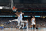 GLENDALE, AZ - APRIL 03: Theo Pinson #1 and Isaiah Hicks #4 of the North Carolina Tar Heels go for a rebound during the 2017 NCAA Men's Final Four National Championship game against the Gonzaga Bulldogs at University of Phoenix Stadium on April 3, 2017 in Glendale, Arizona.  (Photo by Chris Steppig/NCAA Photos via Getty Images)