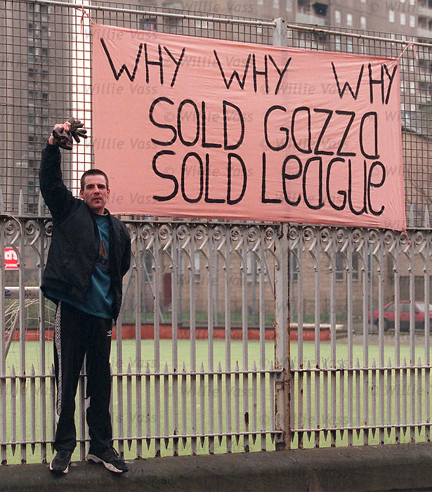 Protesters outside Ibrox as Paul Gascoigne is sold to Middlesbrough in 1998