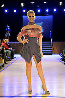 Nora Swann, Piccadilly shoes, New Zealand Eco Fashion Exposed, Eco Designer Runway at Notre Dame Performing Arts Centre, Lower Hutt, New Zealand on Saturday 26 July 2014. <br /> Photo by Masanori Udagawa. <br /> www.photowellington.photoshelter.com.