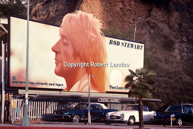 Rod Stewart billbooard on the Sunset Strip in Los Angeles