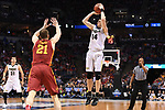 MILWAUKEE, WI - MARCH 18: Purdue Boilermakers guard Ryan Cline (14) shoots a three point basket over Iowa State Cyclones guard Matt Thomas (21) during the first half of the 2017 NCAA Men's Basketball Tournament held at BMO Harris Bradley Center on March 18, 2017 in Milwaukee, Wisconsin. (Photo by Jamie Schwaberow/NCAA Photos via Getty Images)