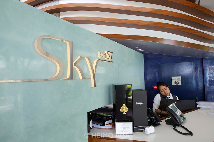 Singapore. Marina Bay Sands. Sky on 57 showcases a modern twist of Franco Asian Cuisine in a setting that offers a birds eye view of Singapore and the bay.