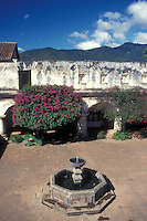 Fountain and cloister of the Capuchinas convent in the Spanish colonial town of Antigua, Guatemala