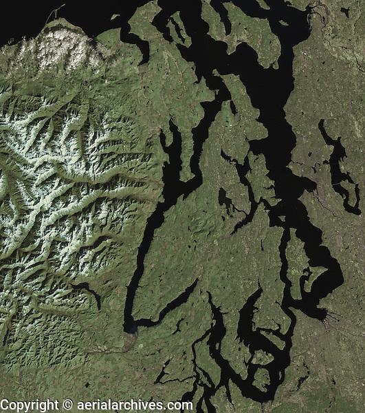 satellite image of Pudget Sound, Seattle, Olympic Mountains Washington