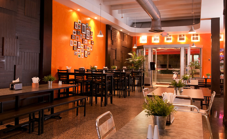 Interior view of a modern restaurant and lounge.