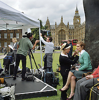 UK. London. From a story on Abingdon Street Gardens, a small patch of land, often referred to as College Green, that lies next to The Houses of Parliament in Westminster. It is a place where the media and the politicians come face to face. Interviews are held, photo shoots are set up and bewildered tourists stroll by..Photo shows the Sky TV tent on the day Gordon Brown took over as Prime Minister..Photo©Steve Forrest/Workers Photos