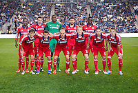 The Chicago Fire line up during a Major League Soccer match at PPL Park in Chester, PA.  Philadelphia defeated Chicago, 1-0.