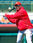 4 March 2010: Washington Nationals' staff trainer Jose Martinez warms up his infielders prior to the Nationals-Astros Grapefruit League Opening game at Osceola County Stadium in Kissimmee, Florida. The Astros defeated the Nationals split-squad 15-5 in Spring Training action. Mandatory Credit: Ed Wolfstein Photo
