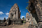 A temple in the ancient Khmer city of Angkor, in northwestern Cambodia.