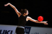Anna Bessonova of Ukraine balances ball during early training at 2006 Thiais Grand Prix in Paris, France on March 24, 2006.  (Photo by Tom Theobald)