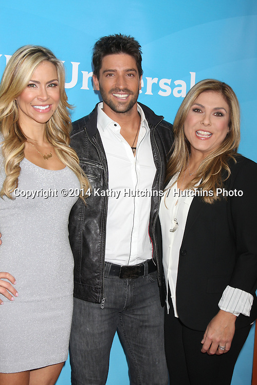 LOS ANGELES - JAN 19:  Aylin Mujica, David Ciarrocchi, Lorena Garcia at the NBC TCA Winter 2014 Press Tour at Langham Huntington Hotel on January 19, 2014 in Pasadena, CA