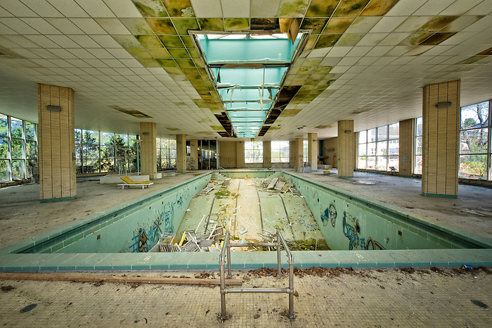 The Diving Board Area of the Interior Pool of the Pines Hotel in the Catskills