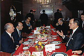 United States President George H.W. Bush, right, and General Secretary of the Communist Party of the Soviet Union (CPSU) Mikhail Gorbachev, left, meet for dinner aboard the Maksim Gorkiy at Malta during an international summit on December 2, 1989.<br /> Mandatory Credit: David Valdez / White House via CNP