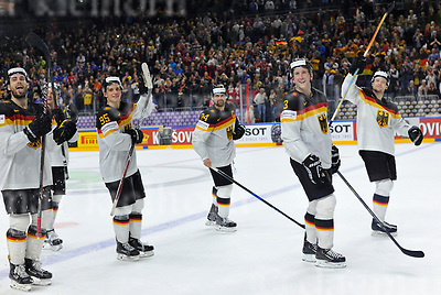 Friday, 5 May, 2017,Lanxess Arena , Cologne/GER<br /> IIHF World Hockey Championship 2017<br /> USA  vs  GER<br /> After a thrilling match Germany wins 2:1,happy team celebration<br /> Friday, 5 May, 2017,Lanxess Arena , Cologne/GER<br /> IIHF World Hockey Championship 2017<br /> USA  vs  GER