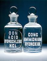 HYDROCHLORIC ACID &amp; AMMONIUM HYDROXIDE<br /> HCl(aq) &amp; NaOH(aq) In Vintage Reagent Bottles.