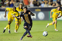 Sebastien Le Toux (9) of the Philadelphia Union scores a penalty kick goal during a Major League Soccer (MLS) match against the Columbus Crew at PPL Park in Chester, PA, on August 05, 2010.