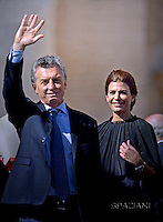 """Argentina's President Mauricio Macri  and his wife Juliana Awada . Pope Francis  leads a canonization mass on October 16, 2016 at St Peter's square in Vatican. Pope Francis canonises Argentine """"gaucho priest"""" Jose Gabriel Brochero today along with six others raised to sainthood : Salomon Leclercq, Jose Sanchez del Río, Manuel Gonzalez Garcia, Lodovico Pavoni, Alfonso Maria Fusco and Elizabeth of the Trinity."""