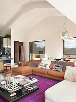 A purple Pamplona rug by Carpet Diem unites the seating area in the open-plan living/dining space