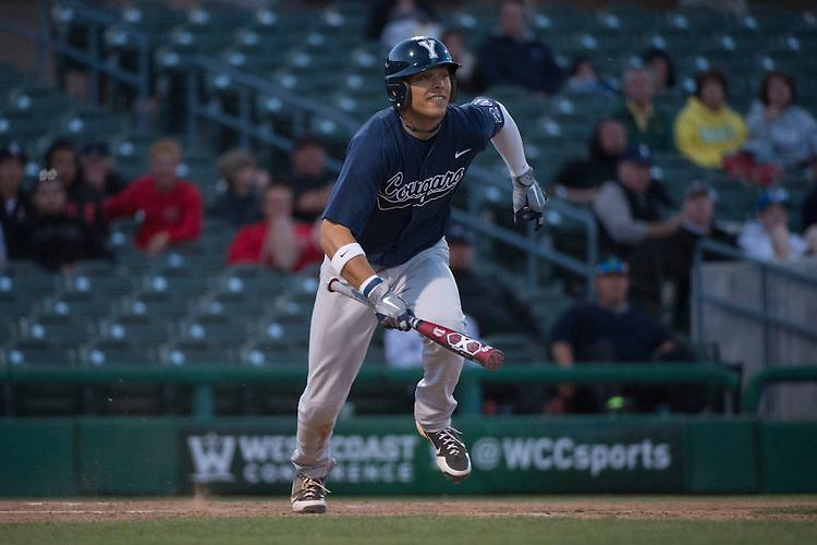 May 23, 2013; Stockton, CA, USA; BYU Cougars outfielder Jacob Hannemann (24) during the WCC Baseball Championship at Banner Island Ballpark.