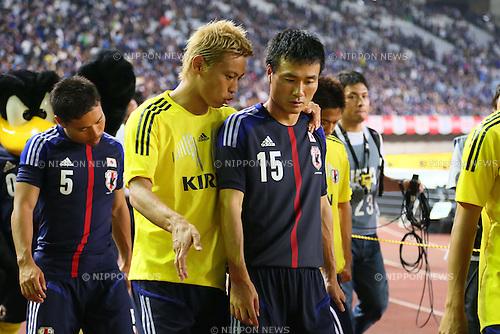 L-R) Keisuke Honda, Yasuyuki Konno (JPN), AUGUST 14, 2013 - Football / Soccer : <br /> KIRIN Challenge Cup 2013 match <br /> between Japan 2-4 Uruguay <br /> at Miyagi Stadium, Miyagi, Japan.<br />  (Photo by AFLO SPORT)