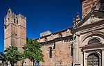 Torre de las Campanas (Bells Tower), left, and Puerta del Mercado (Market Gate), right. Sigüenza Cathedral, province of Guadalajara, Spain