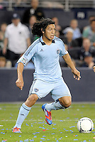 Roger Espinoza (15) Sporting KC midfielder in action... Sporting Kansas City defeated New England Revolution 3-0 at LIVESTRONG Sporting Park, Kansas City, Kansas.