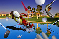 Golf Course, flying, Clubs, Bag, Balls,  Water, Fairway, water hazard, palm trees, greens, challenging, Quality, Unique, Golfing, funny, composite, CGI