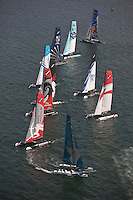 Extreme Sailing Series 2011. Leg 1. Muscat. Oman.Day 5 of racing.   Picture showing the fleet.