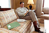 United States President Ronald Reagan works on his State of the Union Address on Friday, January 22, 1982 at Camp David, near Thurmont, Maryland.  The speech will be delivered on Tuesday, January 26, 1982..Mandatory Credit: Michael Evans - White House via CNP