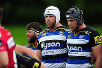 Dave Attwood of Bath Rugby looks on prior to a scrum. Pre-season friendly match, between the Scarlets and Bath Rugby on August 20, 2016 at Eirias Park in Colwyn Bay, Wales. Photo by: Patrick Khachfe / Onside Images