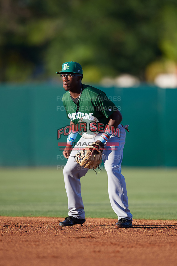 Daytona Tortugas second baseman Shed Long (4) during a game against the Florida Fire Frogs on April 6, 2017 at Osceola County Stadium in Kissimmee, Florida.  Daytona defeated Florida 3-1.  (Mike Janes/Four Seam Images)