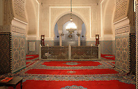 Tomb of Moulay Ismail or Moulay Ismail Ibn Sharif, reigned 1672ñ1727, second ruler of the Alaouite dynasty, in the Mausoleum of Moulay Ismail, built 1703 by Ahmed Eddahbi, Meknes, Meknes-Tafilalet, Morocco. Meknes is a fortified Imperial city redeveloped under Sultan Moulay Ismail, 1634-1727, as Morocco's political capital. Picture by Manuel Cohen