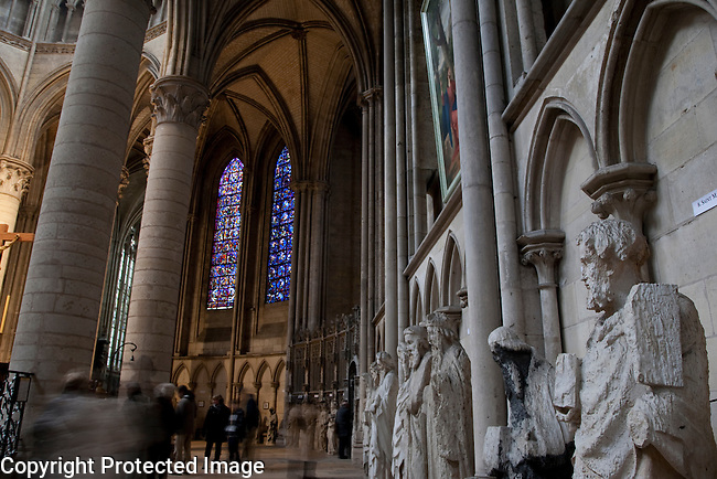 Tourists inside Rouen Cathedral Church in Normandy, France