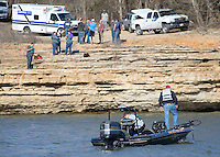 NWA Democrat-Gazette/JASON IVESTER<br /> Crews work a search and rescue for a vehicle and an occupant Friday, Feb. 10, 2017, in the White River (**OR BEAVER LAKE, not sure what the semantics are here**) off Saddle Shop Lane near Highway 412 in Springdale.