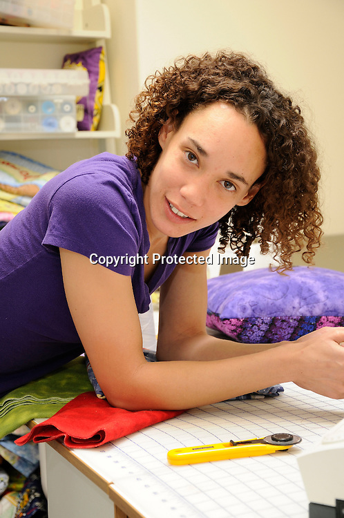 Stock Photo Young Afro American Textile Worker