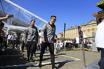 Bernhard Eisel (AUT) leads Team Dimension Data to the Team Presentation for the upcoming 115th edition of the Paris-Roubaix 2017 race held in Compiegne, France. 8th April 2017.<br /> Picture: Eoin Clarke | Cyclefile<br /> <br /> <br /> All photos usage must carry mandatory copyright credit (&copy; Cyclefile | Eoin Clarke)