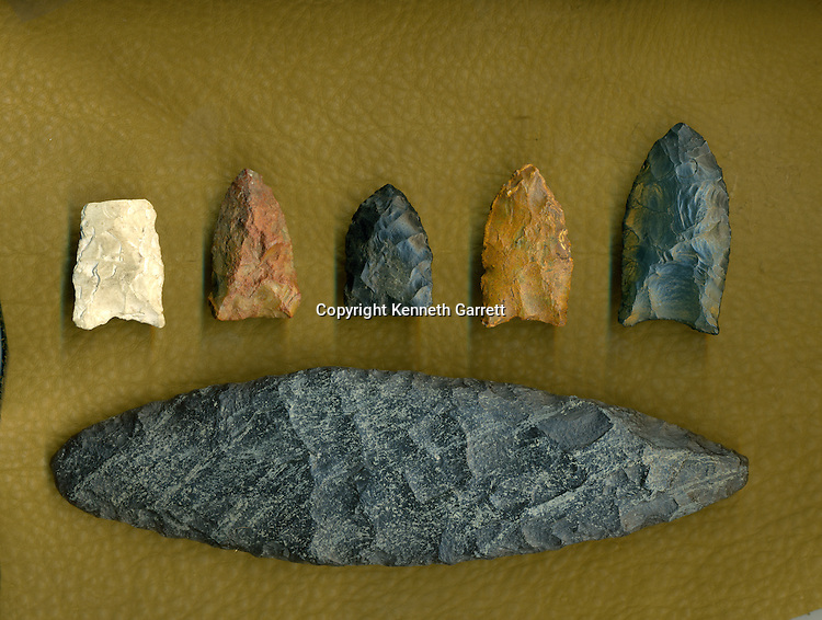 Left to right; Solutrean point; Oyster cove; Miles point; Cactus Hill; Meadowcroft; Jefferson Island; Long Marsh; large Laurel Leaf blade from Cinmar site, First Americans; Dennis Stanford; Chesapeake; Solutrean; Crossing Atlantic Ice; 20; 000BP