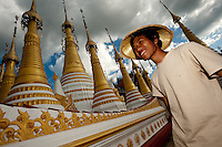 Portrait of a Burmese boy at a Stupa at Inle Lake